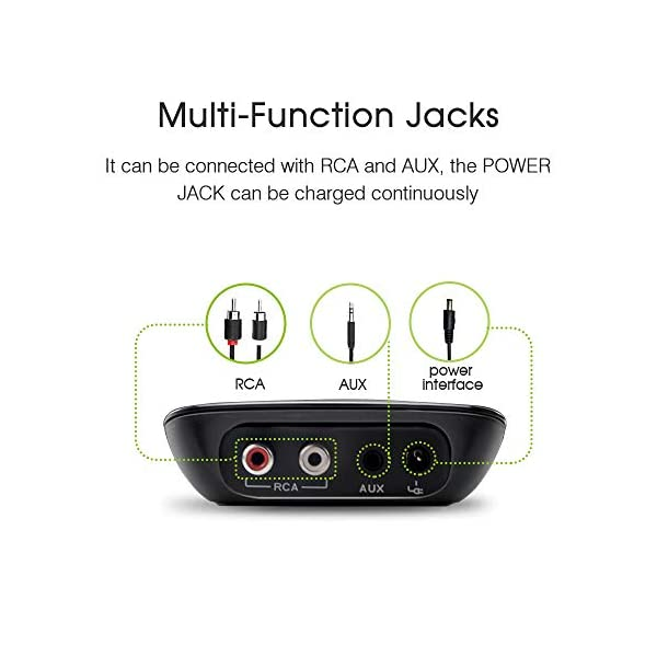 Bluetooth Receiver Wireless Audio Adapter 4.0(NFC-Enabled) for HD Music Stereo Sound System 5