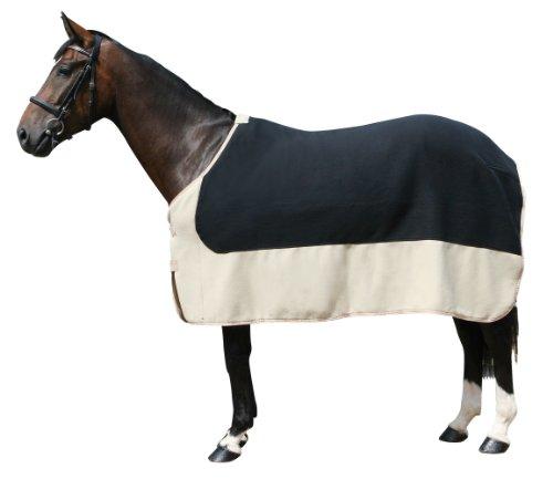 PFIFF 100982 Pferde Polarfleecedecke Costa, Fleecedecke Pferdedecke, Schwarz / Beige 125