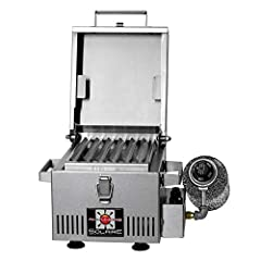 Real infrared ceramic and stainless steel burner with electronic push-button ignition 48 square inches of grilling area that fits two 4-inch burgers on special v-grate that improves flavor and virtually eliminates flare-ups Use made by 100-plus year ...
