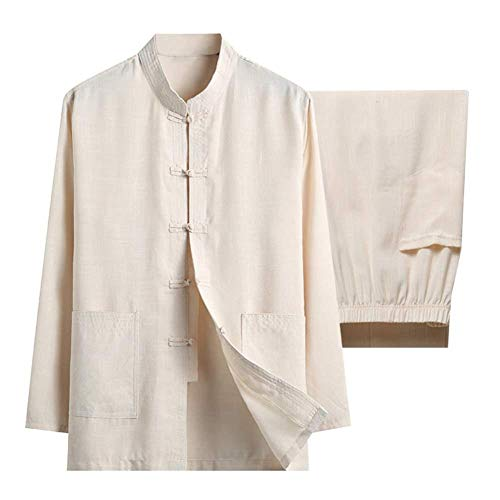NOLLY Cotton Linen Tai Chi Set for Men - Two Pieces Chinese Traditional Tang Suit Martial Arts Clothing Shirts Trousers,D-L