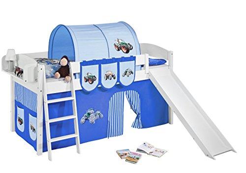 Lilokids Spielbett IDA 4105 Trecker Blau-Teilbares Systemhochbett weiß-mit Rutsche und Vorhang Kinderbett, Holz, 208 x 220 x 113 cm