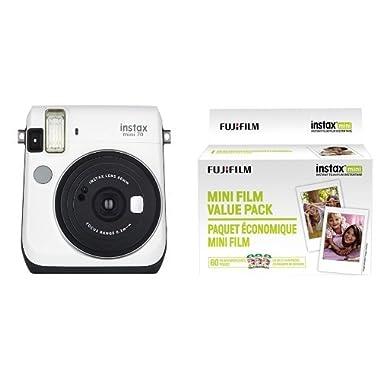 Fujifilm Instax Mini 70 - Instant Film Camera (White) and Instax Mini Film Value Pack - 60 Images