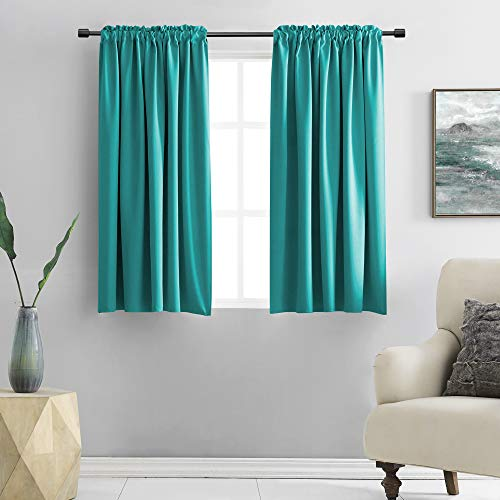 DONREN Teal Rod Pocket Blackout Curtains for Kitchen - Window Treatment Energy Saving Solid Curtains (42 by 45 Inches,2 Panels)