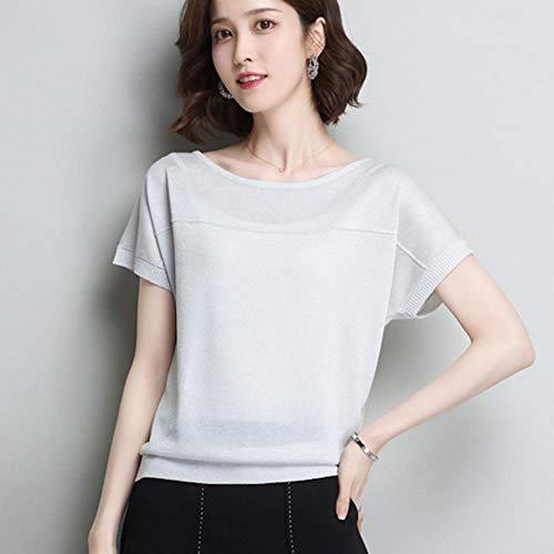 TOSISZ Womens Knit Basic Tops und Blusen Frühling Sommer Pullover Shiny Lurex Pullover Urlaub koreanischen Stil Femme Shirts für Frauen, weiß, XXL