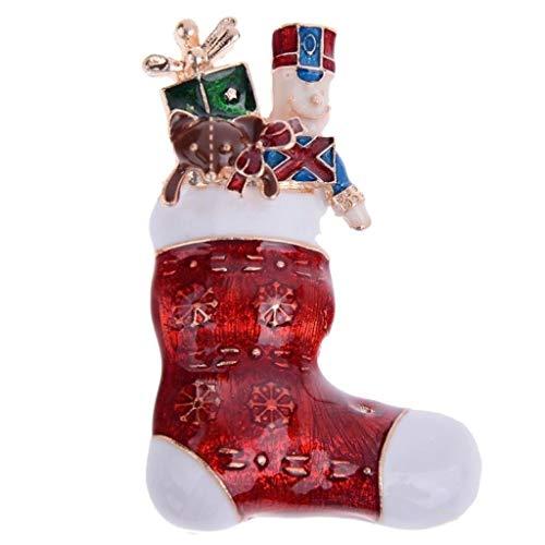 Gouden-Toon Kous Met Speelgoed Broche 5 x 3.5cm Kerstmis- Rood Cadeautjes Cadeaus Pin Kerstmis Notenkraker