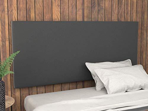 LA WEB DEL COLCHON - Cabecero tapizado Paros para Cama de 135 (145 x 70 cms) Gris Oscuro Textil Suave | Cama Juvenil | Cama Matrimonio | Cabezal Cama |