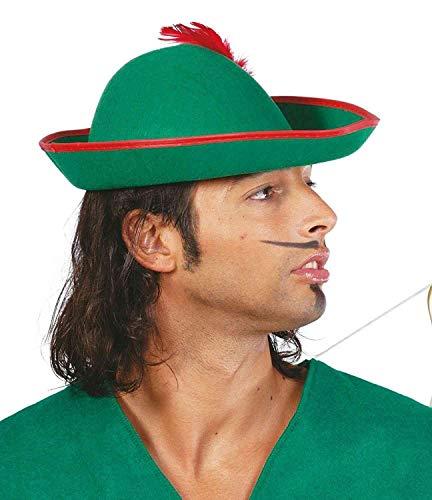 Gorro Sombrero Ladrón de los Bosques Robin Hood Verde Talla Unica Hombre Accesorio Disfraz Carnaval Halloween Fiesta