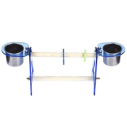 Parrot Standing Perches Small Birds Training Climbing Toys With Two Stainless Steel Bowls for Watering Food Feeding M