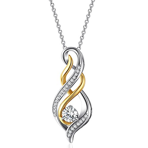 Sterling Silver Diamond Accent Twist Flame Pendant Necklace - Best Jewelry Gift for Women & Girls
