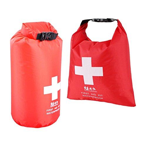 Toygogo Packsack Wasserdicht Rolltop Sack Für Erste Hilfe Kit Schwimm Wandern Kajak Angeln Camping 1.2L & 5L Rot