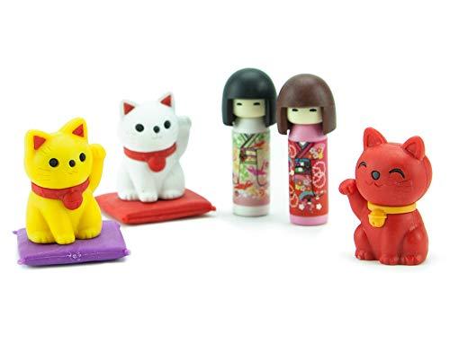 TY UK Iwako–Eraserz Kokeshi Puppe und Lucky Cat Set UK Iwako–Eraserz–Kokeshi Puppe