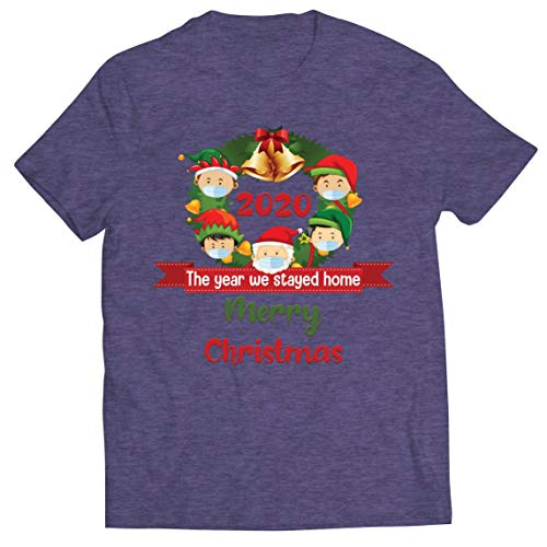 lepni.me Camiseta para hombre con texto en ingls 'Merry Christmas in Quarantine' 2021 Stay at Home Together for Christmas Holidays