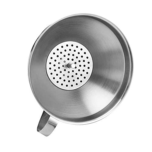 Embudo de acero inoxidable con filtro cónico para el hogar, filtro de aceite, embudo de café (color : bolsa de PP (incluye fi)