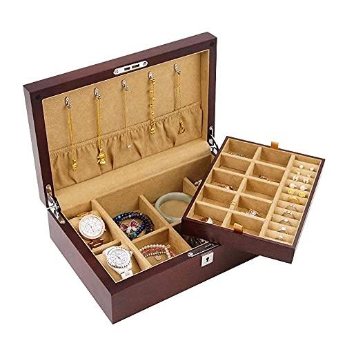 Bella Joyería caja organizador caja de madera caja de almacenamiento de joyería organizador con cerradura de colegio de relojería de almacenamiento colección de joyería de ravela regalo de organizador