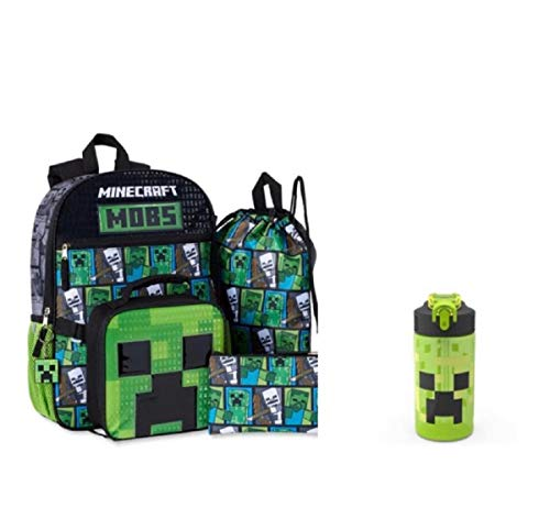 Minecraft 5 Piece Backpack Set Lunch Box Water Bottle Ice Pack Squishy …