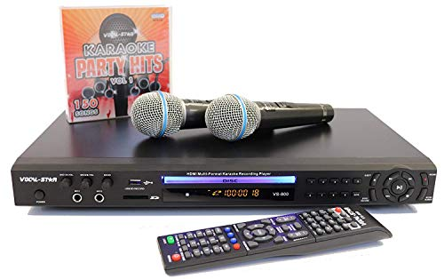 Vocal- Star VS- 800 With EU 2 Pin Plug HDMI Multi Format Karaoke Machine with 4 Microphone Inputs with 150 Songs & 2 Miicrophones Included (english manual)