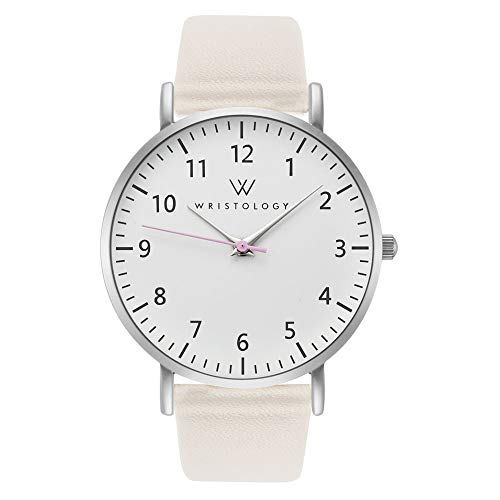 WRISTOLOGY Olivia Silver Womens Watch - for Nurses Large Face Analog Easy to Read Numbers with Second Hand Beige Leather Band