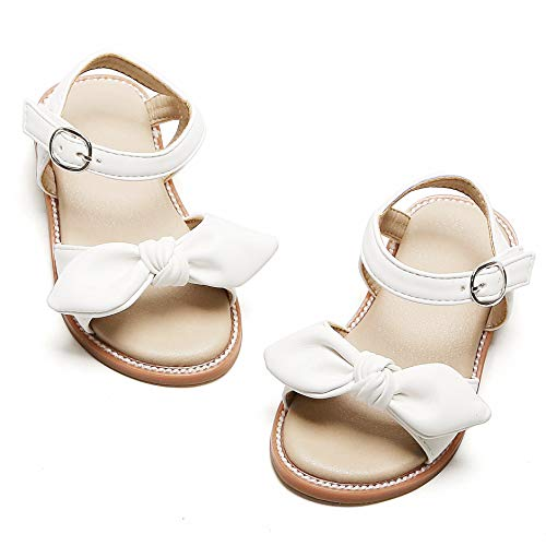 THEE BRON Girl's Toddler/Little Kid Classic Sandals Flat Shoes (9M - 6.7 inch - 16.9cm, C-White)