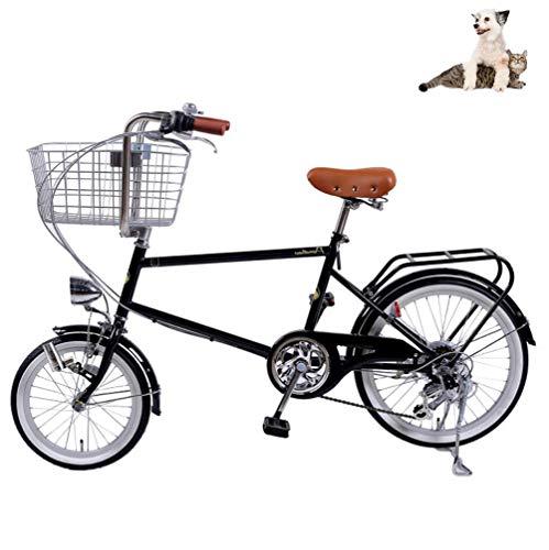 Bicicletas para Mujer Bicicletas Ligeras para Ciudad con cestas extragrandes Bicicleta de 20 '' y 6 velocidades Bicicletas de propulsión Humana Cuadro Contenido de Carbono con cestas de 100 kg