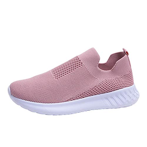 jiumoji Mujeres Malla Ligero Antideslizante Calcetín Calcetín Zapatos Color Sólido Casual Zapatos Estudiante Suave Running Zapatillas, ✨✨--Rosa, 9.5-10 US