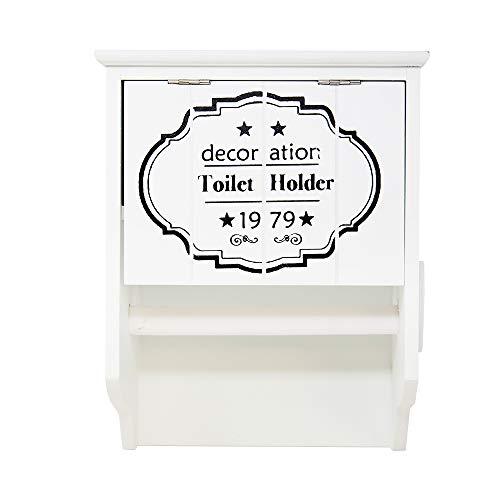 DRULINE Toilettenpapierhalter Klopapierhalter Rollenhalter aus Holz im Landhaus/Shabby Chic Stil mit Ablage und Aufbewahrungsmöglichkeit | L x H x B 19 x 24.5 x 11.5 cm | Weiß