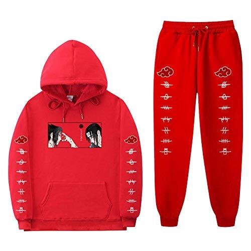 Naruto Hoodies and Sweatpants Uchiha Sasuke Itachi Suit Mens Womens Anime Hooded Sweatshirts Tracksuits (Red,M)