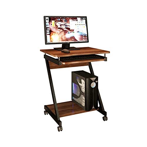 Mesa de Ordenador Escritorio para el hogar ORDENADOR PERSONAL Escritorio con estantes de almacenamiento y bandeja de teclado Unique Z-Formado de Z Aprendizaje compacto Escritura de escritura con rueda