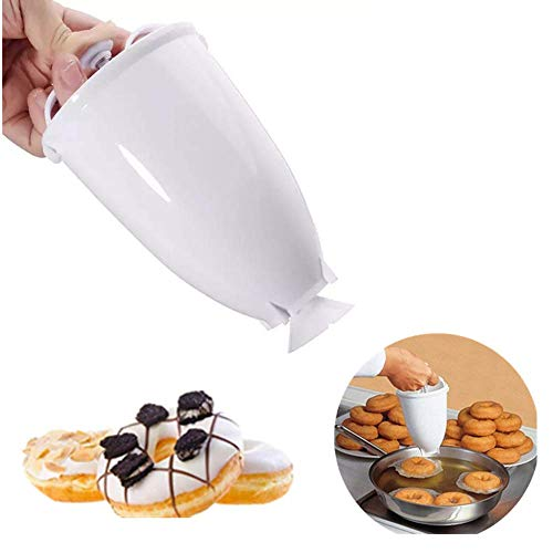 Angela 2 Piezas de plástico Donut Maker, dispensador de Masa, Molde para rosquillas, Utensilios para Hornear, Herramientas de Bricolaje, repostería de Cocina, Utensilios para Hornear, Blanco