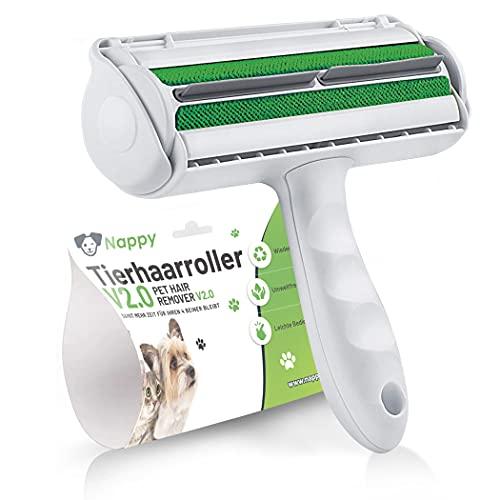 NAPPY Tierhaarroller V 2.0 für Hunde und Katzenhaare, Tierhaarentferner, Fusselroller, wiederverwendbar Roller, mit Behälter, für Sofas, Polstermöbel, Autoteppich und Haushalt