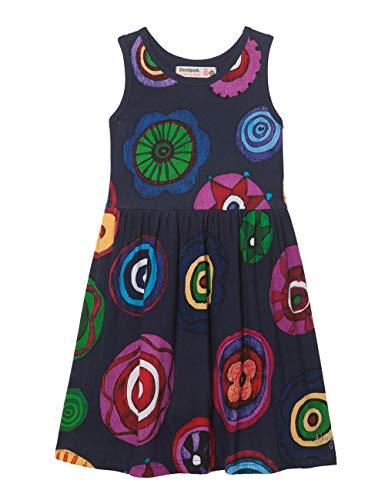 Desigual Girl Knit Dress Straps (Vest_Moroni) Vestido, Azul (Navy 5000), 140 (Talla del Fabricante: 9/10) para Niñas