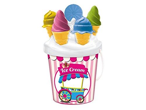 Cubo de playa de 17 Cm En la tapa se insertan 4 moldes de colores con forma de helado y una cuchara Se presenta decorado con rayas verticales rosas y blancas con la imagen de un carrito de helados clásico en el centro