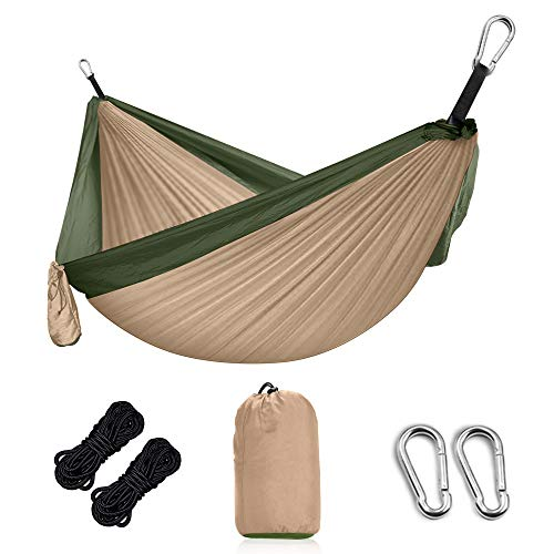 Grassman Hammock Outdoor Ultralight camping hammock with tree straps and carabiner, ripstop nylon parachute travel hammocks for two people with capacity up to 300 kg, 300 x 200cm