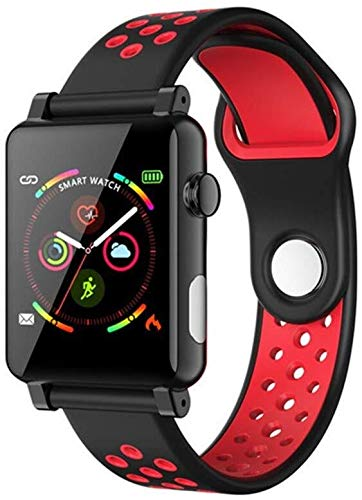 FANPING 1,3 Zoll Smart Watch ECG + PPG Fitness Tracker Activity Tracker Health Index Report Health Index Report Remote Care for Verwandte und Freunde for das IOS Android (Color : Black red)
