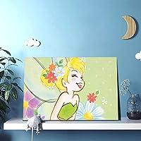 現代美術 室内装飾フレームレス塗装 ポスター 装飾画 幸せなティンカーベル2 壁の絵 け ソファ 背景絵画家の装飾30x45cm(防水、フックロック)