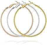 Holfeun 3 Pairs 1.18' Hoop Earrings in 14K Gold Plated, Hypoallergenic Stainless Steel Lightweghit Hoops in Gold Plated/Rose Gold Plated/Silver for Women Girls (30mm)