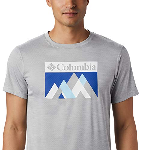 Columbia Zero Rules, Camiseta de manga corta, Hombre, Gris (Columbia Grey Heather Peak Fun), Talla L