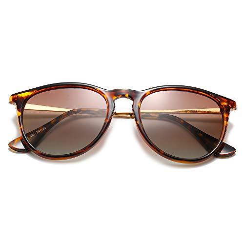ProudDemon Vintage Gafas de Sol Polarizadas Hombre UV400 Moda Protección Lentes de Sol Marco de leopardo y lente marrón