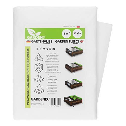 GARDENIX® 8 m² Frühling Gartenvlies mit Wasserdurchlässigkeit, zur Abdeckung von Gemüsebeeten, UV-Stabilisierung (1,6m x 5m)