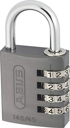 ABUS Zahlenschloss 145/40 Titanium - Vorhängeschloss aus massivem Aluminium - mit individuell einstellbarem Zahlencode - Level 4
