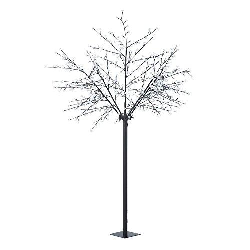 Blumfeldt Hanami CW 250 - decoración navideña, árbol de luces, iluminación exterior, 600 LED, blanco frio, bajo consumo de energía, 2,5 m, ramas flexibles, cable de 10 m, negro