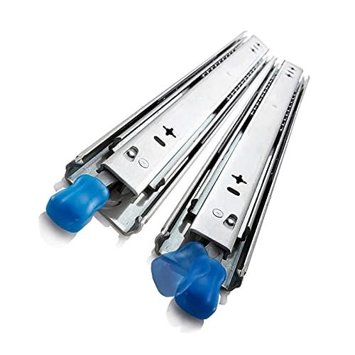 53 mm de ancho con diapositivas de cajón de bloqueo: cordones de bolas, extensión completa, funcionando sin problemas, fácil de instalar, carga de 265 kg, corredores de cajones de trabajo pesado