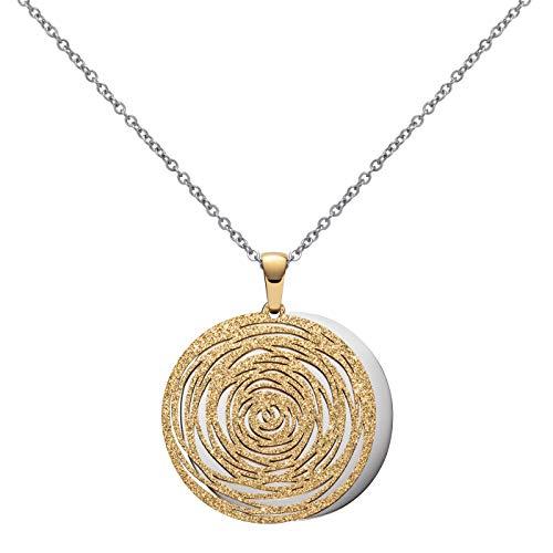Perlkönig   Damen Frauen   Kette mit Anhänger   Gold   Rund mit Amulett   Glitzer Steine   Nickelabgabefrei