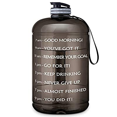 Gallon Water Bottle Portable Water Jug - Fitness Sports Daily Water Bottle with Motivational Time Marker, Leak-Proof Gym Bottle for Outdoor Camping (73 Oz, Black)