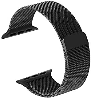 Smartwatch Bands for Apple Watch Series 4/3/2/1, Milanese Loop Band Stainless Steel with Adjustable Magnetic Closure Replacement Sport Bands Compatible with iWatch (Black,42mm/44mm) …