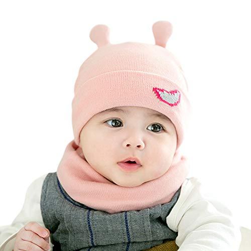 DORRISO Linda Gorra de Bebe Primavera Otoño Invierno Cómodo Calentar Pequeña Cuerno de Caracol Gorras con Bufanda Apto para 1 mes-24 Mes bebé