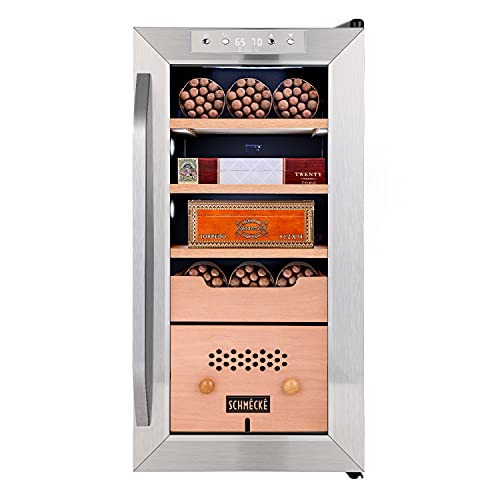 Schmécké 250 Cigar Cooler Humidor with 3 in 1 Precise Cooling, Heating & Humidity Control, Stainless Steel Trim Finish Cabinet, Spanish Cedar Wood Shelves and Drawer with Built in Digital Hygrometer