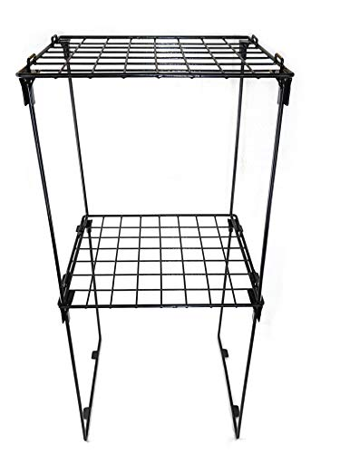 """Set of 2 Stackable 12"""" Height Locker Shelf for School, Office, Gym or Home Use (Black)"""