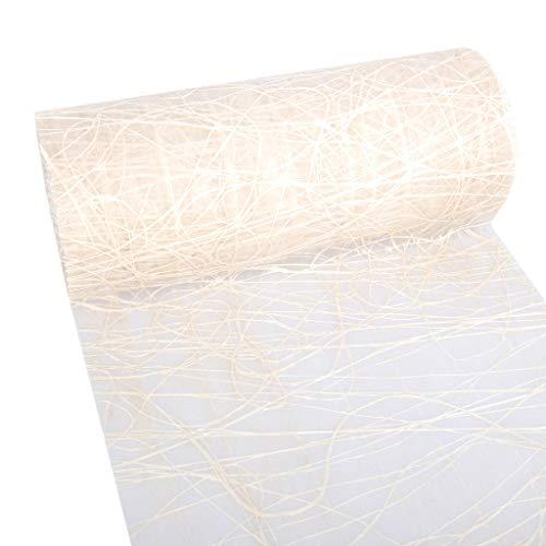 Dekoweb Runner – Runner da tavolo – Natura – 30 cm larghezza – 15 m lunghezza + 100 cuori decorativi speculari gratis – 54-300-15-050