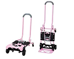 HEAVY DUTY - Durable Steel Frame with 300lbs Weight Capacity EASY TO USE - Quick Conversion with no pins or tools MULTI-POSITION - Use as a Two Wheel Upright Hand Truck, a 4 wheel Cart, and Folds Flat for Transport/Storage STORAGE - Folds Flat for Tr...