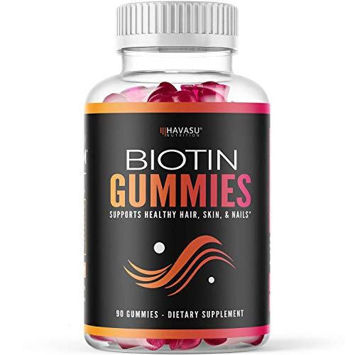 Havasu Nutrition High Potency Biotin Gummies - Natural Hair, Skin, Nail & Metabolism - 5000 mcg, Premium, Pectin-Based, 90 Gummy